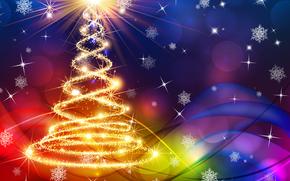 новогодние обои, с новым годом, новогодняя ёлка гирлянды, огни