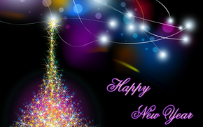 クリスマスの壁紙, 明けましておめでとうございます, クリスマスツリーの花輪, ライト