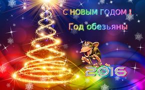 con il nuovo 2016, Anno dbezyany, Sfondi di Natale, la data del 2016, Carta da parati con una scimmia
