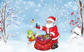 Santa Claus, Christmas Wallpaper, Bunny, gifts