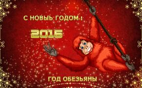 con il nuovo 2016, anno della scimmia, Sfondi di Natale, la data del 2016, Carta da parati con una scimmia