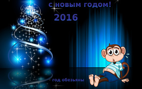 with the new year 2016, year of the monkey, Christmas Wallpaper, the date of 2016, Wallpaper with a monkey