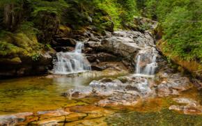 лес, речка, скалы, водопад, природа