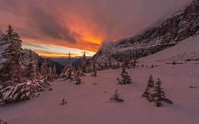 Parque Nacional Banff, Alberta, Canadá, invierno, Montañas, árboles, puesta del sol, paisaje