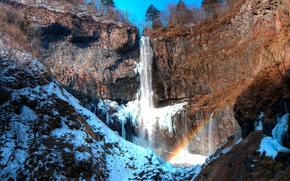 Kegon, Япония, водопад, скалы, зима, пейзаж