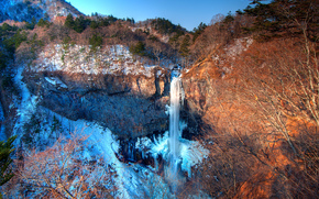 Kegon, Japan, Wasserfall, Rocks, Winter, Landschaft