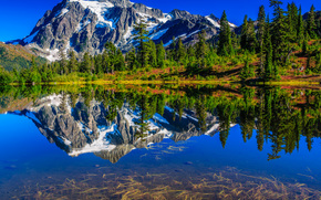 Picture Lake, Mount Shuksan, Mount Baker-Snoqualmie National Forest, Washington, USA