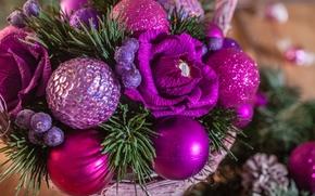 Новый год, корзина, цветы, композиция, шарики