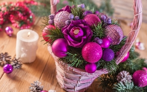 New Year, basket, flower, COMPOSITION, Balls, candle, Cones