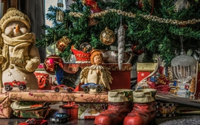 New Year, Christmas, fir-tree, snowman, angel, cars, Toys, ornamentation, gifts