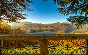 Lake Orta, Isola San Giulio, Orta San Giulio, Piedmont, Italy, Lake Orta, the island of San Giulio, Orta San Giulio, Piedmont, Italy, lake, island, Mountains, view, BRANCH, parapet