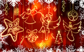happy new year, Christmas Wallpaper, red background