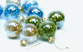 New Year, Christmas decorations, Balls, Transparent, Glass, rain, brilliant, varicolored, white background, holiday