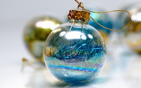 New Year, ball, Christmas decorations, rain, glass, shine, blue, yellow, gilding, holiday, white background