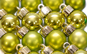 New Year, Christmas decorations, ornamentation, Balls, yellow-green, reflection, specular, shine, holiday, lot, the consignment