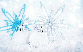 New Year, Christmas decorations, ornamentation, Balls, silver, blue, white, shine, holiday