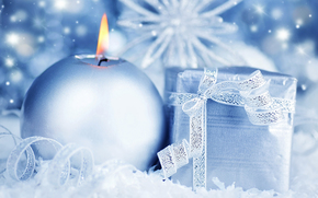 New Year, candle, box, gift, silver, blue, tape, bow, holiday, shine, shine