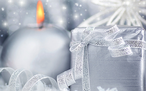 New Year, candle, box, gift, tape, bow, silver, silver, shine, shine, holiday