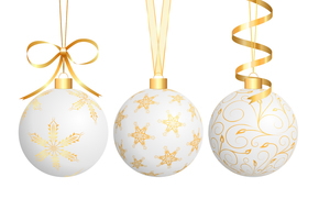 New Year, Christmas decorations, Balls, white background, gilding, Tape, bow, PATTERNS, holiday