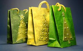 новый год, сумочки, пакеты, подарочные, ёлочки, позолота, декор, желтый, зеленый, праздник