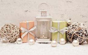Año Nuevo, Navidad, ornamentación, Decoraciones de Navidad, fiesta, regalos, Cajas, linterna, vela