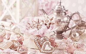 Новый год, рождество, печенье, чайник, застолье, красота, вкуснятина, праздник
