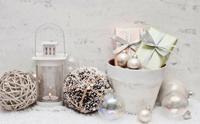 New Year, Christmas, ornamentation, Christmas decorations, holiday, gifts, Boxes, lantern, candle