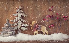 Año Nuevo, Navidad, Juguetes, árbol, Madera, Herringbone, nieve, invierno