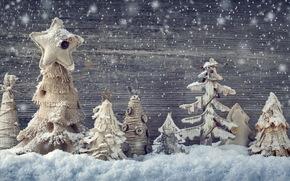 New Year, Christmas, Toys, tree, Wooden, Herringbone, snow, winter
