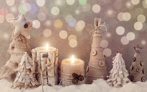 New Year, Christmas, Toys, Candles, tree, Wooden, Herringbone, snow, winter
