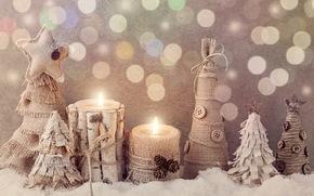 Año Nuevo, Navidad, Juguetes, Velas, árbol, Madera, Herringbone, nieve, invierno