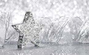 новый год, рождество, елочные игрушки, звезда, украшения, белый, светлый, праздник, красиво