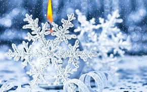 Ano Novo, Natal, Decorações de Natal, Flocos de neve, vela, ornamentação, branco, luz, férias, generosamente