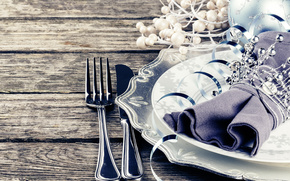 New Year, Christmas, Christmas decorations, cutlery, ornamentation, white, light, holiday, handsomely
