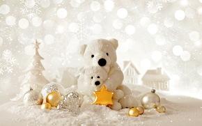 Capodanno, Natale, Addobbi natalizi, Orsi, ornamentazione, bianco, chiaro, vacanza, profumatamente
