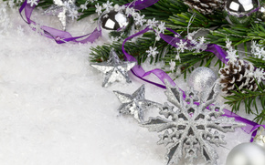 New Year, Christmas, Christmas decorations, snowflake, ornamentation, white, light, holiday, handsomely