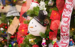 New Year, fir-tree, snowman, Toys, ornamentation, Tape