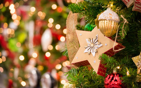 Новый год, ёлка, звезда, игрушки, украшения, блики