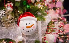 新年, 枞树, 玩具, 装饰物, 金属丝, 雪人