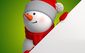 New Year, holiday, snowman, Snowmen, 3d, graphics