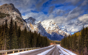 inverno, Montagne, stradale, alberi, paesaggio