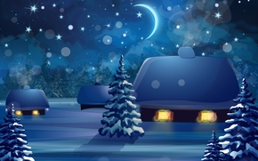winter, snow, night, month, trees, cabin, New year's night