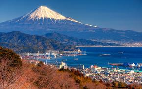 Гора Фудзи, залив Суруга, япония