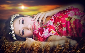 Asian, visualizzare, trucco, manicure, spighe di grano, Photoshop