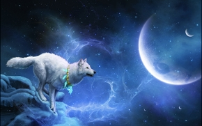 white wolf, planet, 3d, art
