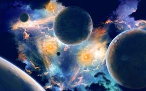 космос, планеты, вселенная, 3d, art