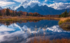 Snake River, Teton Range, Rocky Mountains, Grand Teton National Park, Wyoming, река Снейк, горный хребет Титон, Скалистые горы, Гранд-Титон, Вайоминг, река, горы, отражение, осень
