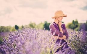 dziewczyna, Dziewczyny, ładny, lawenda, Kwiaty, lato, pole, nastrój