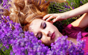 girl, Girls, cute, lavender, Flowers, summer, field, mood