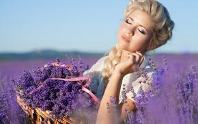 девушка, девушки, симпатичная, лаванда, цветы, лето, поле, настроение